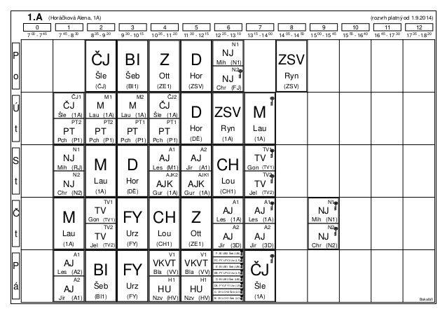 1.A (Horáčková Alena, 1A) (rozvrh platný od 1.9.2014)  0 1 2 3 4 5 6 7 8 9 10 11 12  7 00 - 7 45 7 45 - 8 30 8 35 - 9 20 9...