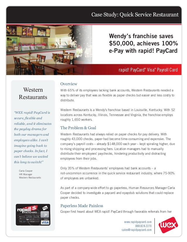 Case Study: Quick Service Restaurant                                                                  Wendy's franchise sa...