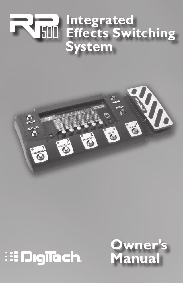 Owner's Manual Integrated Effects Switching System