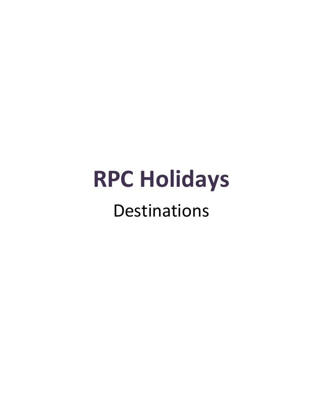 Holidays Destinations from RPC Holidays