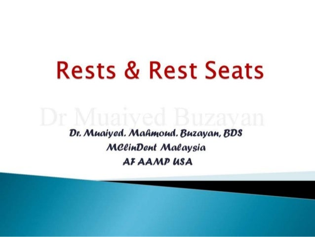 Rpd. rests & rest seats 2nd yr