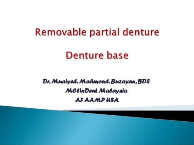 Rpd denturebases 2nd yr