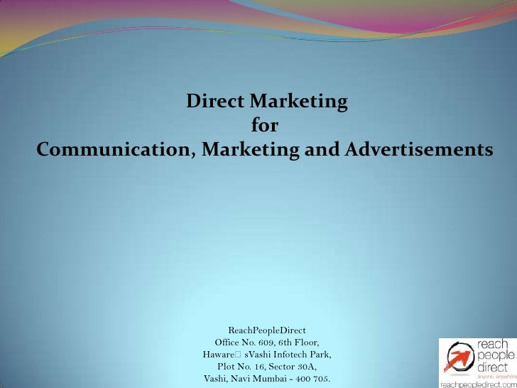 Direct Marketing                    forCommunication, Marketing and Advertisements                     ReachPeopleDirect  ...