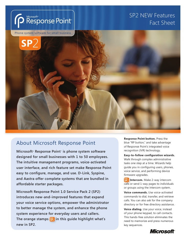 Microsoft Response Point SP2 Fact Sheet