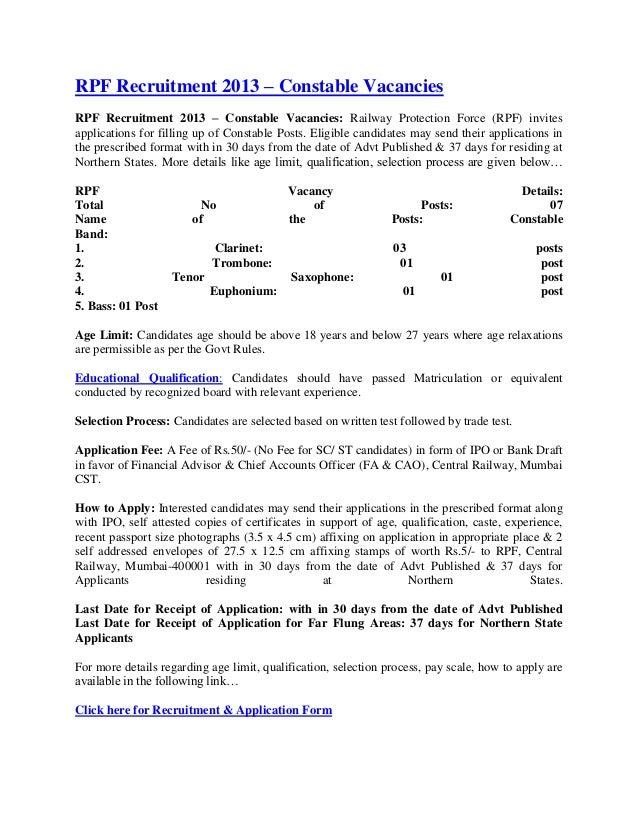 RPF Recruitment 2013 – Constable VacanciesRPF Recruitment 2013 – Constable Vacancies: Railway Protection Force (RPF) invit...