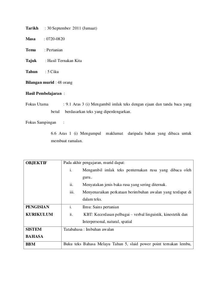 Tarikh    : 30 September 2011 (Jumaat)Masa     : 0720-0820Tema      : PertanianTajuk     : Hasil Ternakan KitaTahun     : ...