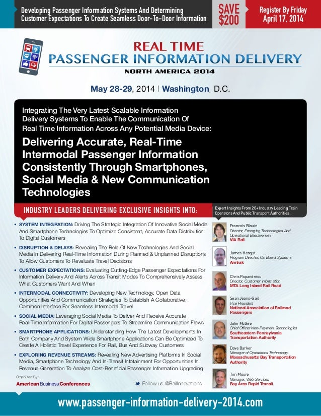 Real Time Passenger Information Delivery: North America 2014