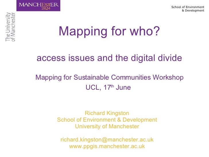 Richard Kingston (University of Manchester) Mapping For Sustainable Communities 170608