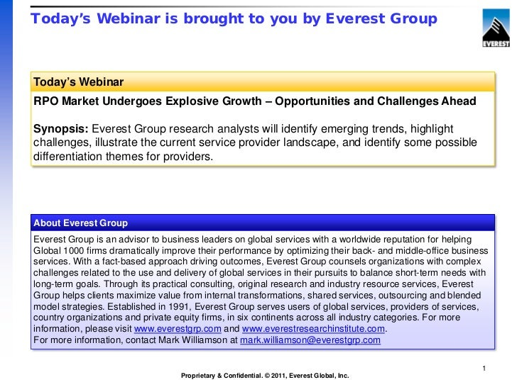 Today's Webinar is brought to you by Everest GroupToday's WebinarRPO Market Undergoes Explosive Growth – Opportunities and...