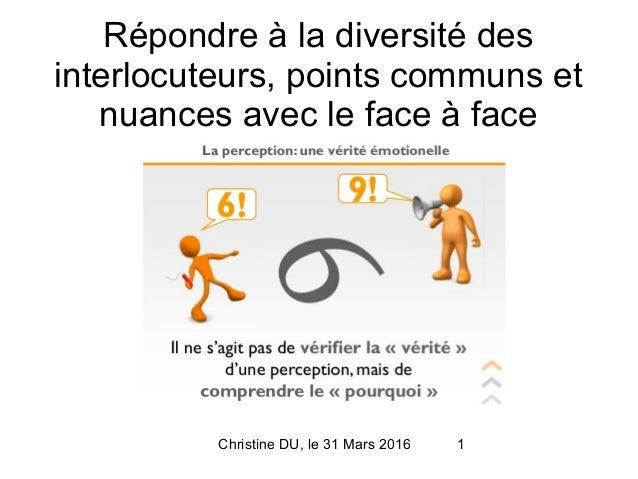 Christine DU, le 31 Mars 2016 1 Répondre à la diversité des interlocuteurs, points communs et nuances avec le face à face