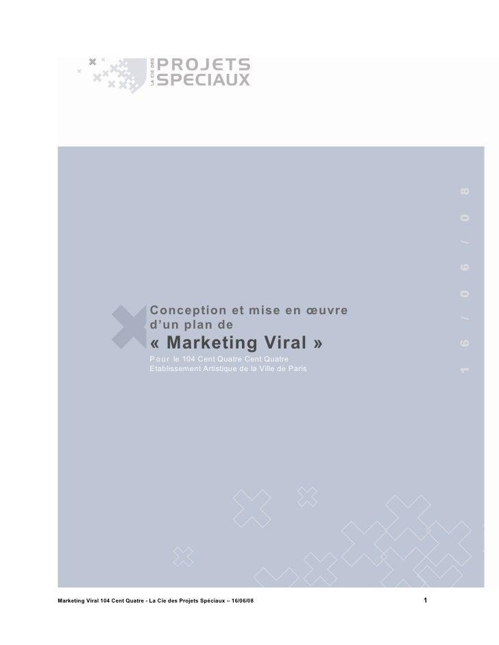 RéPonse Appel à Projet 104   Marketing Viral