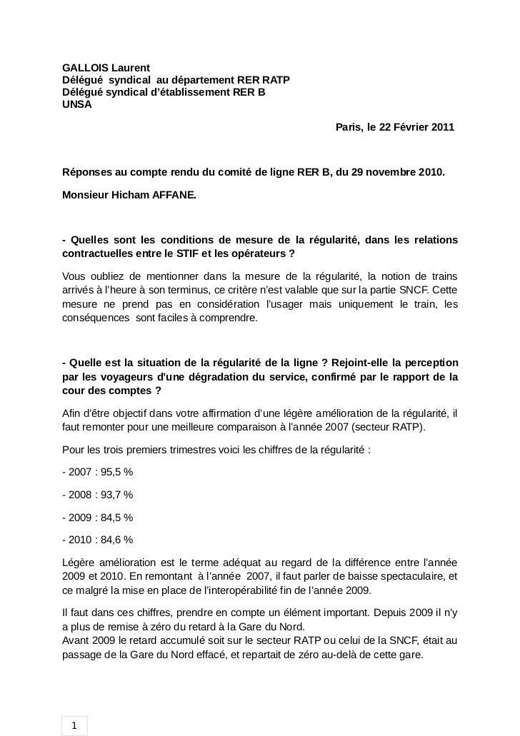 GALLOIS LaurentDélégué syndical au département RER RATPDélégué syndical d'établissement RER BUNSA                         ...