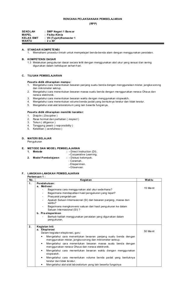 RENCANA PELAKSANAAN PEMBELAJARAN (RPP) SEKOLAH : SMP Negeri 1 Bancar MAPEL : Fisika-Kimia KELAS /SMT : VII (Tujuh)/Semeste...