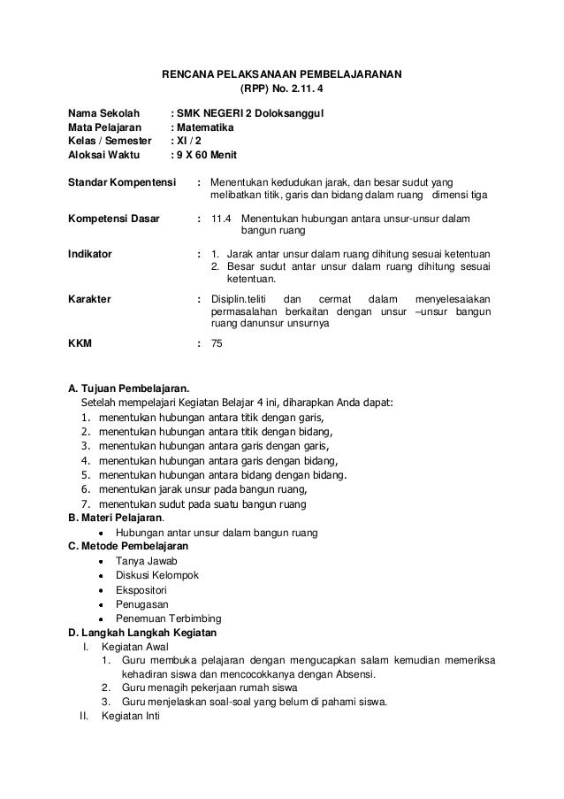 RENCANA PELAKSANAAN PEMBELAJARANAN                              (RPP) No. 2.11. 4Nama Sekolah        : SMK NEGERI 2 Doloks...