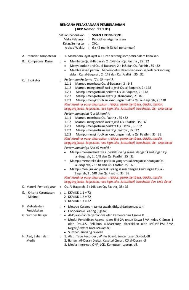 Rpp Agama Berkarakter Sma Kelas Xi Semester 1 Masbied