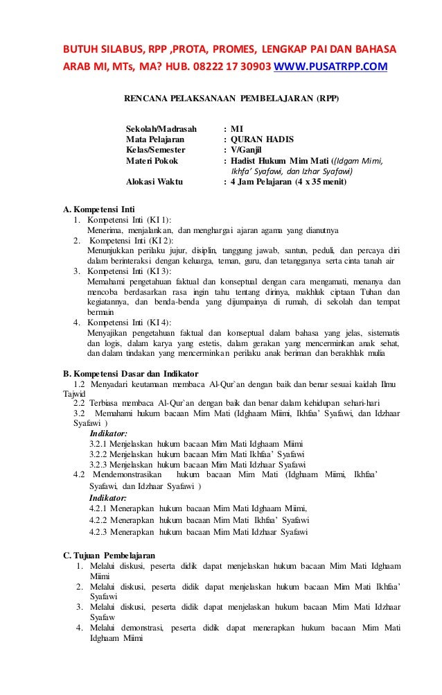 Rpp Quran Hadis Kelas 5 Mi Kurikulum 2013