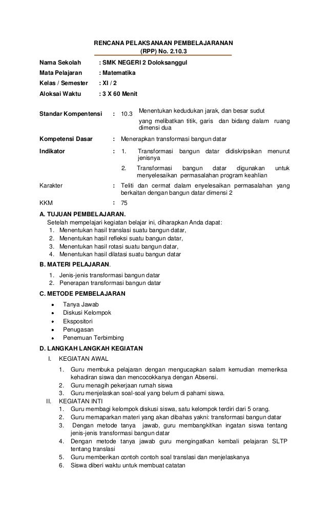 Rpp 10.3 transpormasi bangun datar