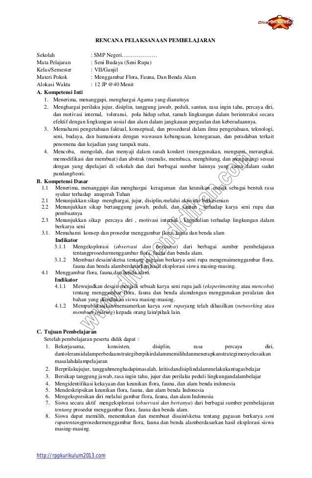 Rpp 1 Seni Budaya Seni Rupa Kelas 7 Smp Kurikulum 2013
