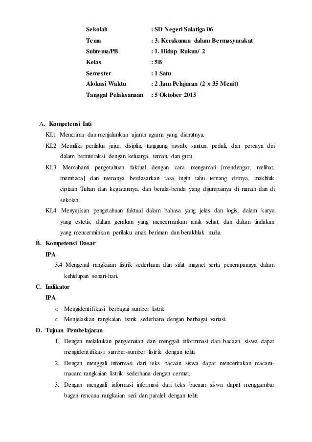 Rpp Tema 3 Subtema 1 Kelas 5