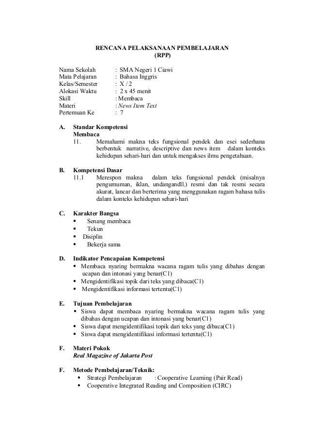 RENCANA PELAKSANAAN PEMBELAJARAN(RPP)Nama Sekolah : SMA Negeri 1 CiawiMata Pelajaran : Bahasa InggrisKelas/Semester : X / ...