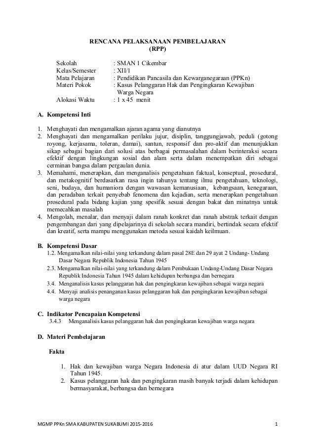 Rpp Bab 4 Ppkn Sma Kelas Xii Kurnas