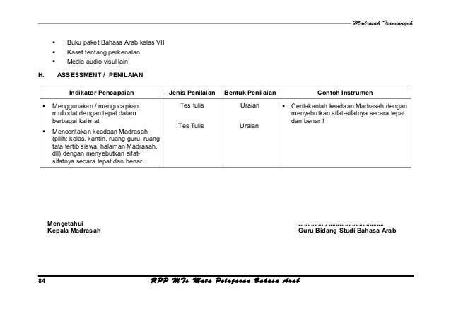 Rpp Bahasa Arab M Ts Kelas 7 Semester 1