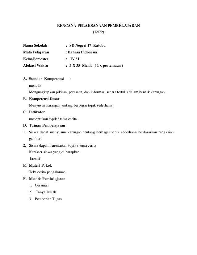 Rpp bahasa indonesia