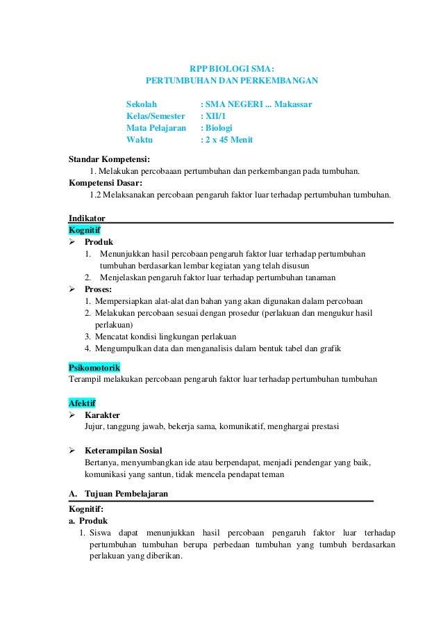 RPP Biologi: Kelas XII SK 1, KD. 1.2, Pertemuan I (Pertumbuhan dan Perkembangan)