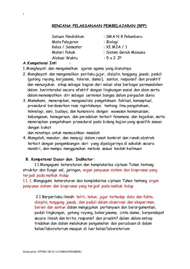 Rpp Biologi Sma Kelas Xi Mia Kd 3 5 Sistem Gerak M Ia Almans