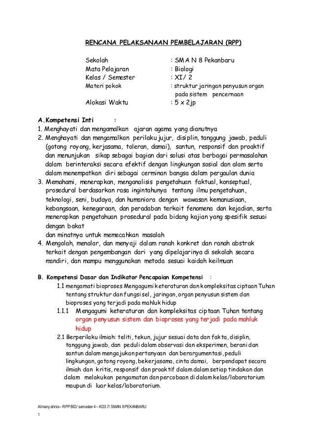 Rpp Biologi Xi Kd 3 7 Sistem Pencernaan Almansyahnis Sman 8 Pekanb