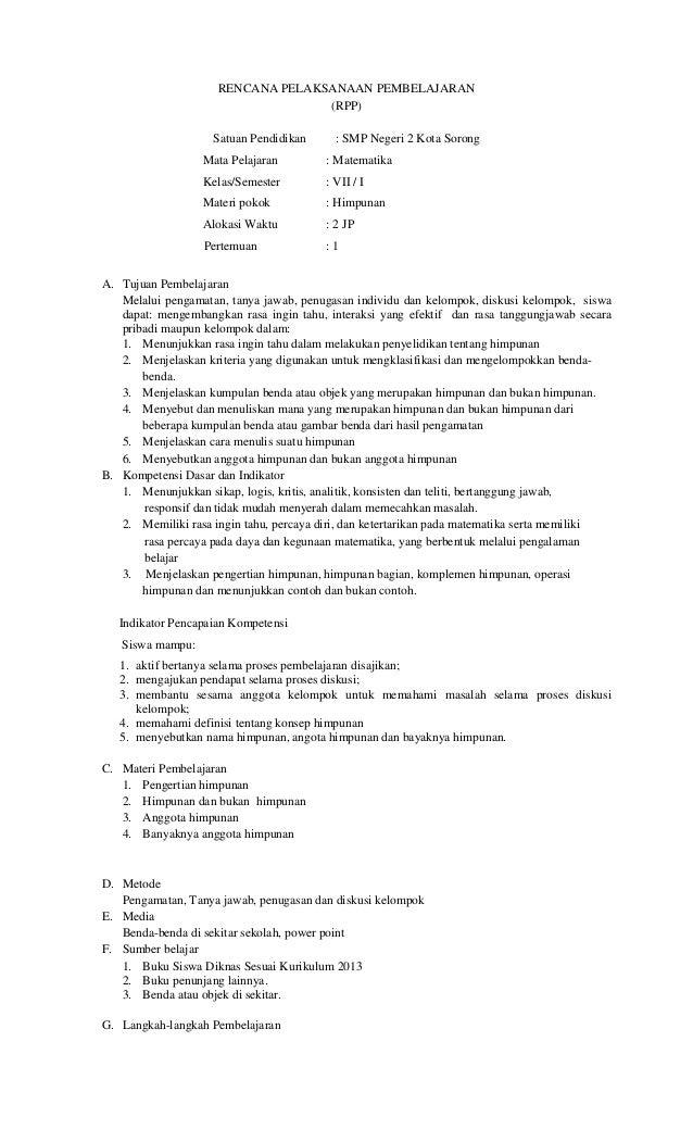 RENCANA PELAKSANAAN PEMBELAJARAN (RPP) Satuan Pendidikan : SMP Negeri 2 Kota Sorong Mata Pelajaran : Matematika Kelas/Seme...