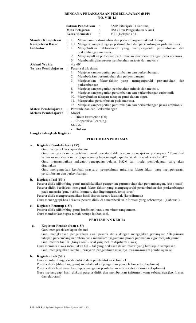 RENCANA PELAKSANAAN PEMBELAJARAN (RPP) NO. VIII-I.1 Satuan Pendidikan : SMP Rifa'iyah 01 Sapuran Mata Pelajaran : IPA (Ilm...