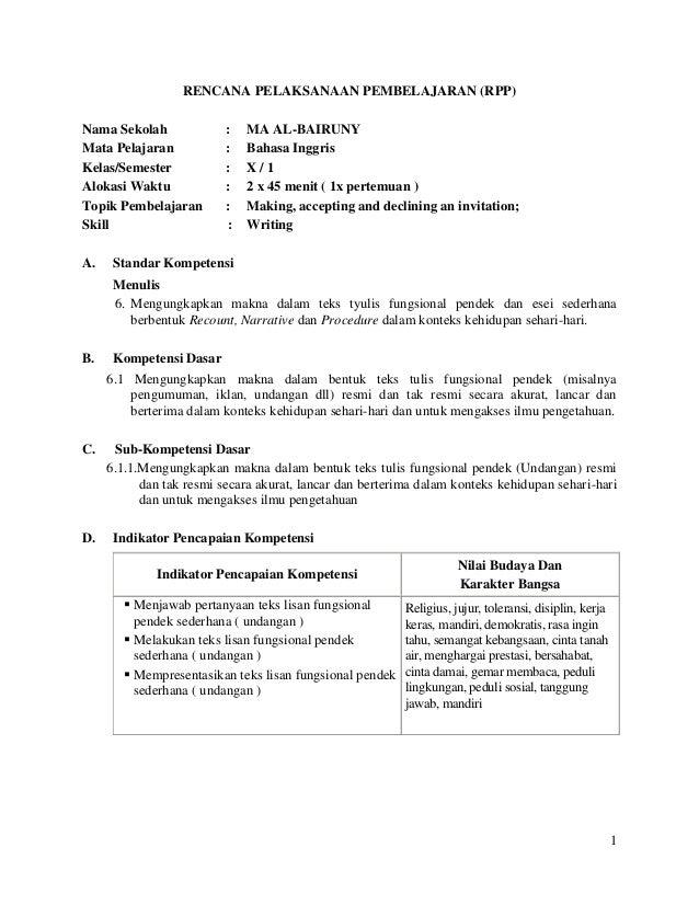 RPP skill Writing, short functional text (Invitation)