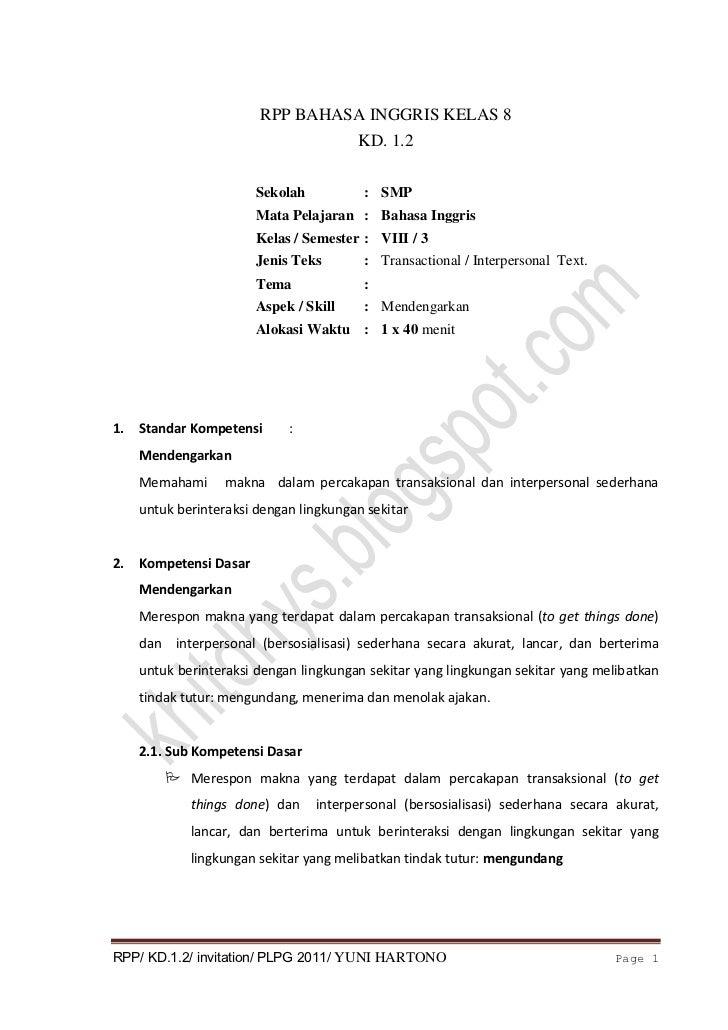 RPP lengkap kd.1.2 kelas 8 PLPG 2011 yuni hartono kelas B