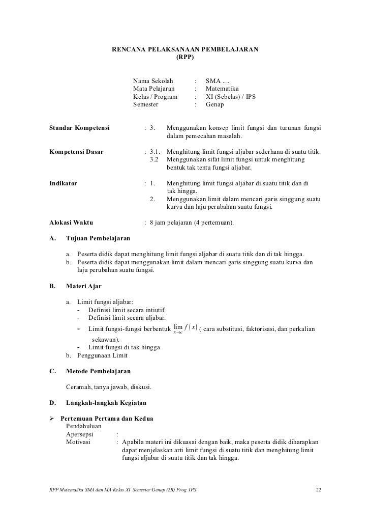 Rpp matematika SMA (limit ips)