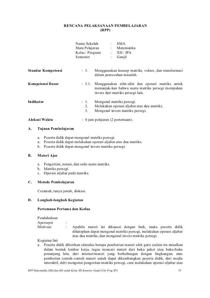 Rpp matematika SMA (matriks, vektor dan transformasi)