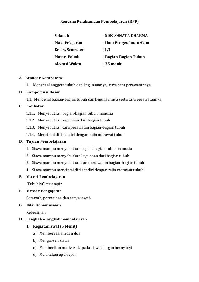 Rencana Pelaksanaan Pembelajaran (RPP)                     Sekolah                    : SDK SANATA DHARMA                 ...