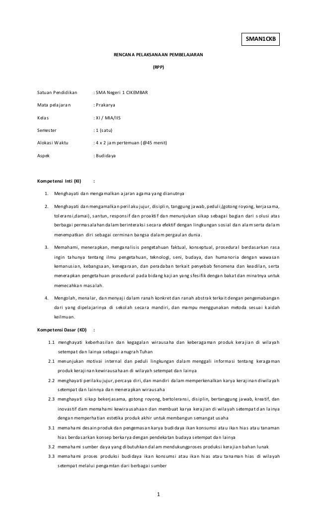 Rpp Prakarya Kewirausahaan Kelas Xi Download Lengkap