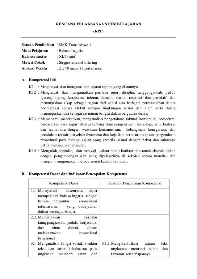 Rpp Bahasa Inggris Smk Kelas Xi Suggestion And Offering