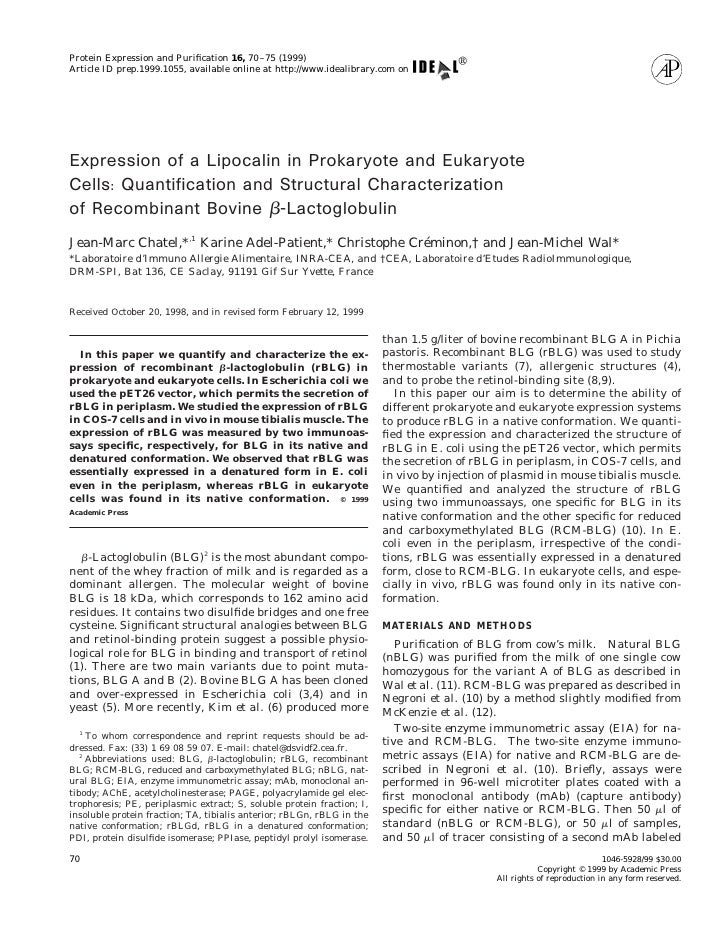 Protein Expression and Purification 16, 70 –75 (1999) Article ID prep.1999.1055, available online at http://www.idealibrary...