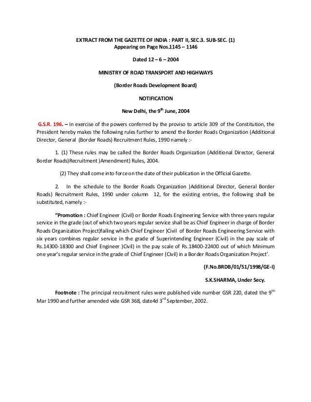 EXTRACT FROM THE GAZETTE OF INDIA : PART II, SEC.3. SUB-SEC. (1) Appearing on Page Nos.1145 – 1146 Dated 12 – 6 – 2004 MIN...