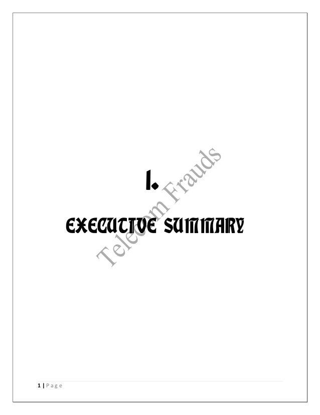 1. EXECUTIVE SUMMARY  1 Page