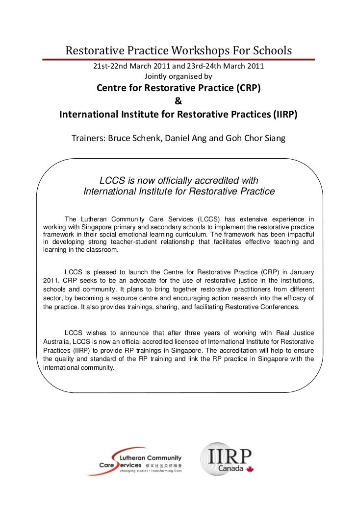 Restorative Practice Workshops For Schools                 21st-22nd March 2011 and 23rd-24th March 2011                  ...