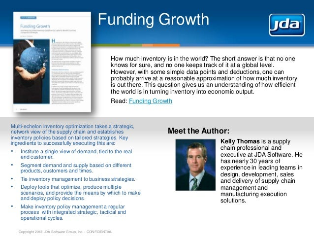 JDA Software - Real Results Summer 2013 - Funding Growth