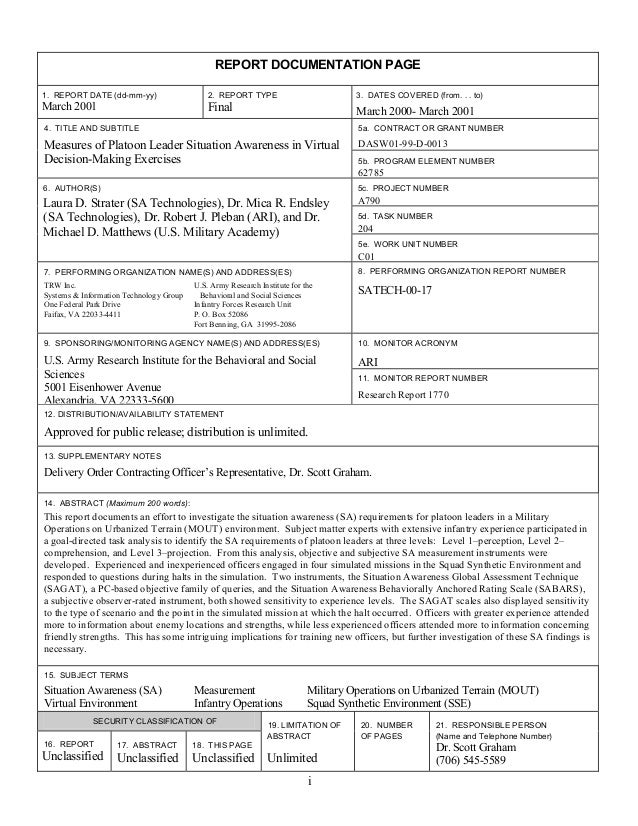 REPORT DOCUMENTATION PAGE1. REPORT DATE (dd-mm-yy)                    2. REPORT TYPE                          3. DATES COV...