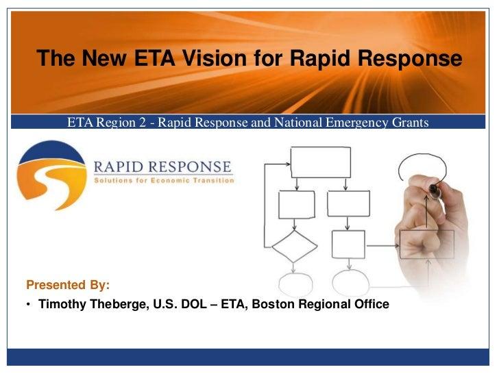 The New ETA Vision for Rapid Response      ETA Region 2 - Rapid Response and National Emergency GrantsPresented By:• Timot...
