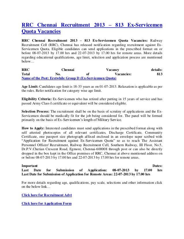 Rrc chennai recruitment 2013 – 813 ex servicemen quota vacancies