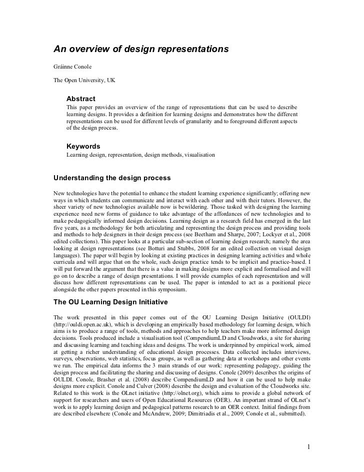 An overview of design representationsGráinne ConoleThe Open University, UK     Abstract     This paper provides an overvie...