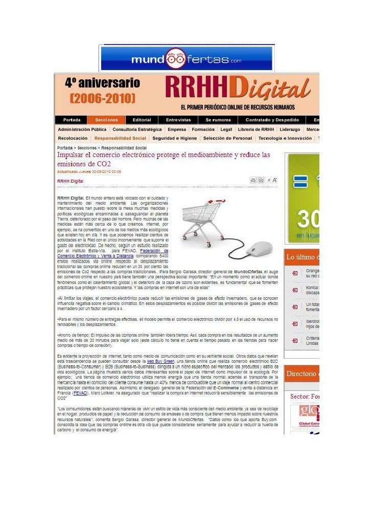 """MundoOfertas en RRHHDigital.com """"La Compra Online Reduce Las Emisiones de Co2 en Un 35%"""""""