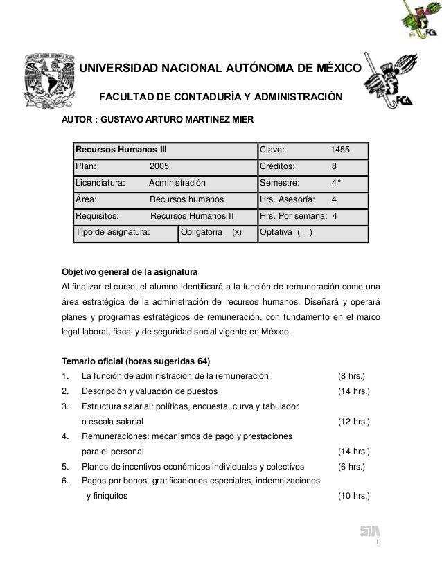UNIVERSIDAD NACIONAL AUTÓNOMA DE MÉXICO FACULTAD DE CONTADURÍA Y ADMINISTRACIÓN AUTOR : GUSTAVO ARTURO MARTINEZ MIER Recur...